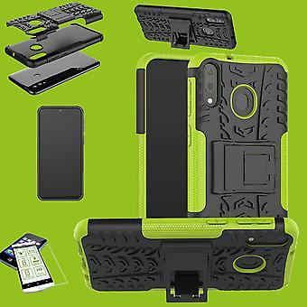 For Huawei Y6 2019 Hybrid Case 2-piece Green + 0.26 mm 2.5D H9 Hard Glass Bag Case Cover Case
