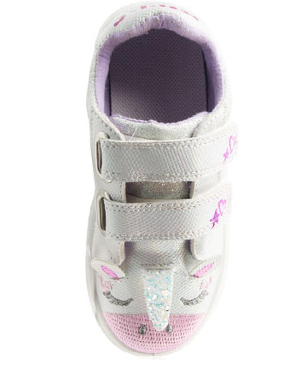 Girls white and sparkly silver Unicorn trainers