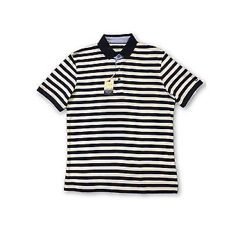 Olyp Casual odern fit polo in white and navy stripe