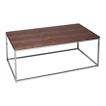 Gillmore Walnut And Silver Metal Contemporary Rectangular Coffee Table