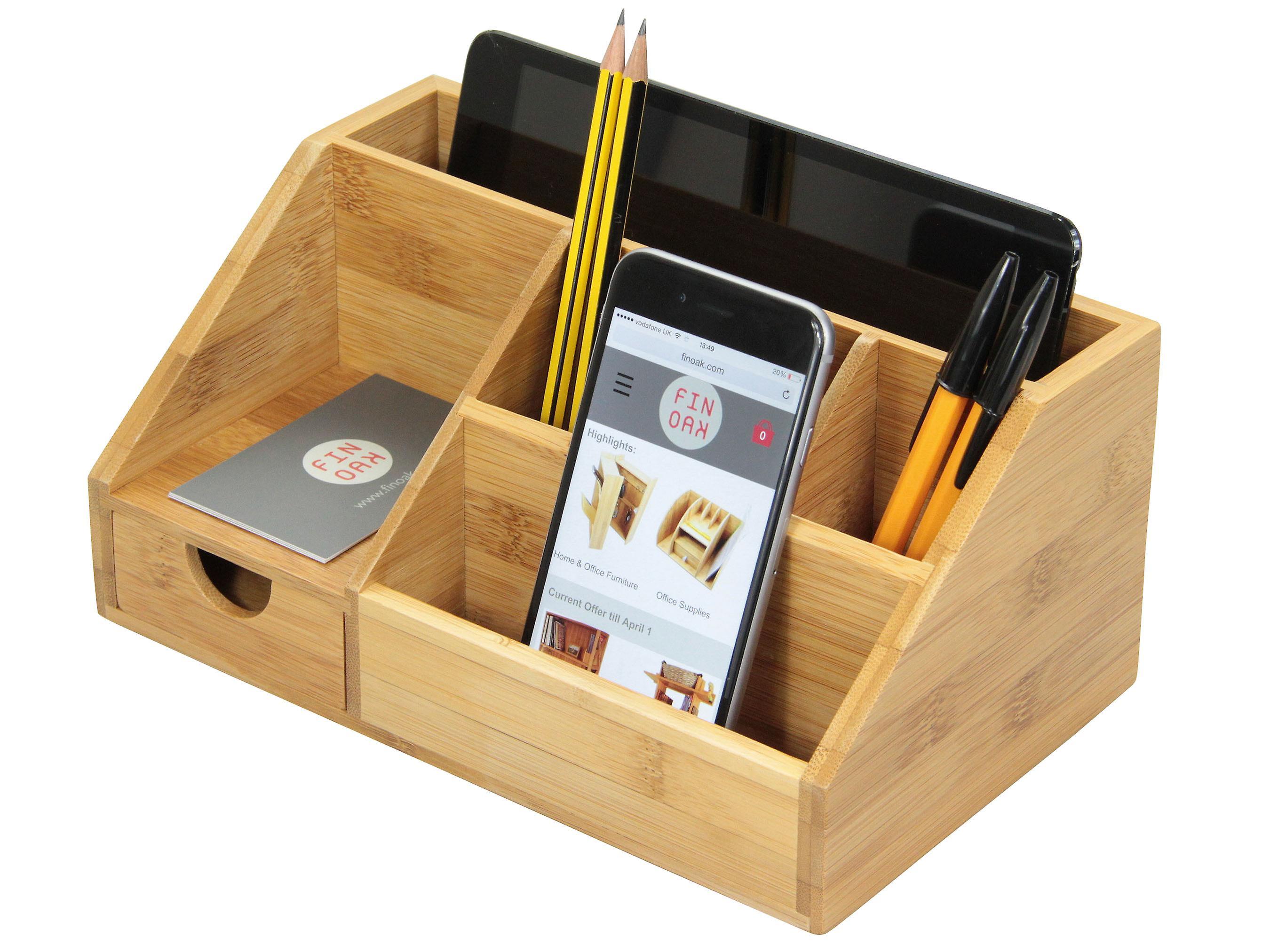 Woodquail Bamboo Stationery Organiser Letter Rack Notes Pen Pencil Holder