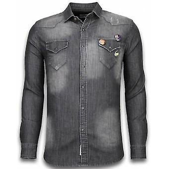 Denim Shirt - Nail Slim Fit - 3 Buttons - Grey