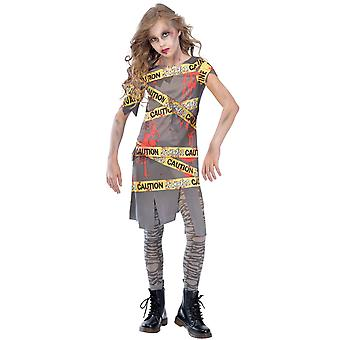 Filles Attention Zombie Fancy Dress Costume Halloween
