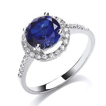 Jewelco London Ladies Rhodium Plated Sterling Silver blue round brilliant cubic zirconia Halo Solitaire Engagement Ring