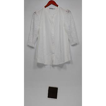 Denim & Co. Femmes&apos&s Top XXS Button Front 3/4 Lace Sleeve Blouse Blanche A279245