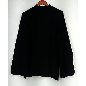 Du Jour Mock Neck Sweater Tunique w/ Bell Sleeves Black A300208