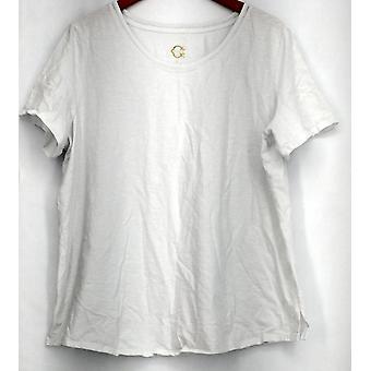 C. wonder T-shirt top gebogen Hi Low hem korte mouw wit A298035