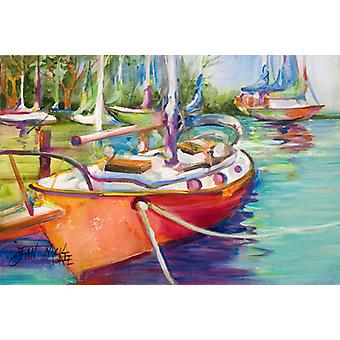 Carolines Treasures  JMK1028PLMT Red Sailboat Fabric Placemat