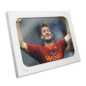 Francesco Totti Signed AS Roma Photo: The Roman Emperor In Gift Box