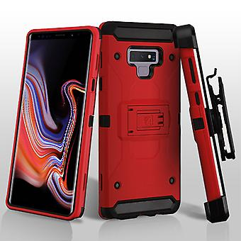 ASMYNA Red/Black Kinetic Hybrid Protector Cover Combo (w/ Holster) for Galaxy Note 9