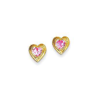 14k Yellow Gold Polished Pink CZ Cubic Zirconia Simulated Diamond Love Heart Post Earrings Jewelry Gifts for Women