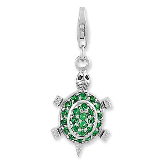 925 Sterling Silver Rhodium plated Fancy Lobster Closure Rhodium Plated CZ Cubic Zirconia Simulated Diamond Green Turtle