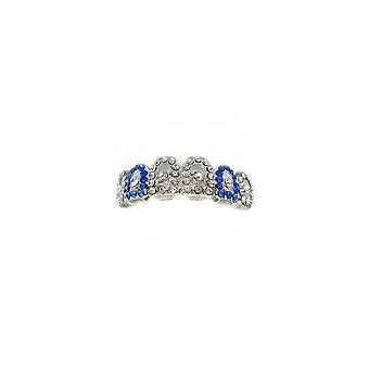 Grillz Silver Gatekeeper Iced Out Clear And Blue Cz Diamonds [top] Gz0004