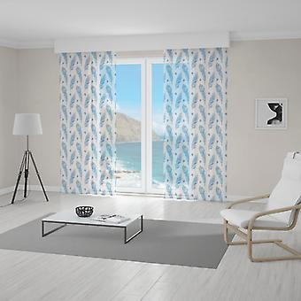 Meesoz Net Curtain - Blue Feathers With Red Eye