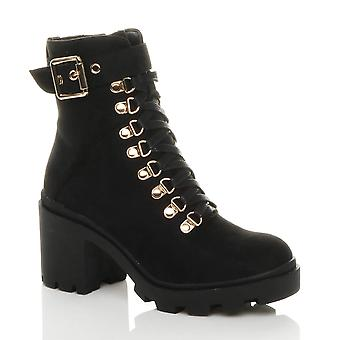 Ajvani womens mid low block heel military combat army ankle buckle lace up boots
