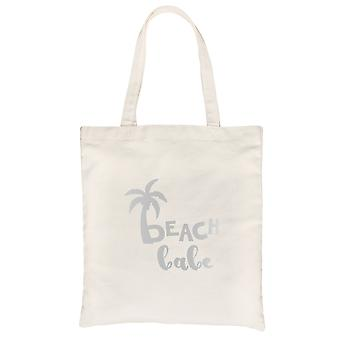 Beach Babe Palm Tree-SILVER Natural Canvas Shoulder Bag Caring Gift