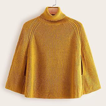 Plus high neck raglan sleeve poncho sweater