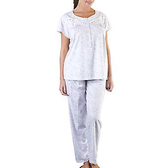 Ladies Floral Short Sleeve Button Front Pyjamas Nightwear Sleepwear