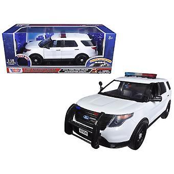 2015 Ford Police Interceptor Utility Weiß mit blinkender Lichtleiste, Front- und Rückleuchten und 2 Sounds 1/18 Diecast Modellauto von Motormax