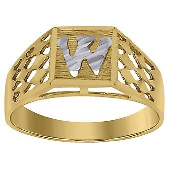 10k Two tone Gold baby voor jongens of meisjesLetter Naam Gepersonaliseerde Monogram Initial W Band Ring Measures 6.6x3.50mm Wide S