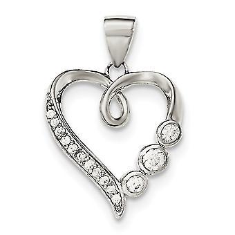925 στερλίνα ασημένια στιλβωμένη αγάπη καρδιά με CZ κυβικά Zirconia προσομοιωμένο Diamond κρεμαστό κόσμημα κολιέ κοσμήματα για Wome