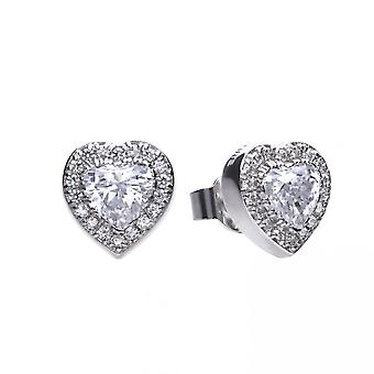 Diamonfire Silver & White Zirconia Pave Set Heart Stud Earrings