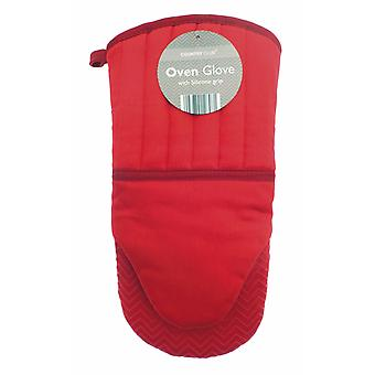 Country Club Chevron Silicone Grip Oven Glove, Red