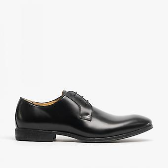 Steptronic Faro Mens Waxed Leather Derby Shoes Black
