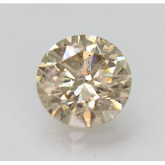 Cert 2.26 Carat Light Brown SI1 Round Brilliant Enhanced Natural Diamond 8.33mm