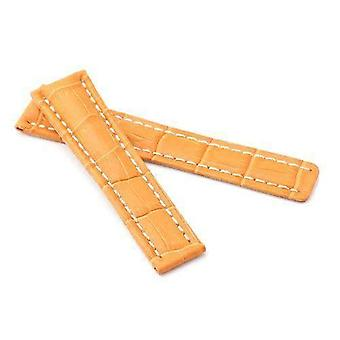 Calf leather watch strap orange crocodile grain made by w&cp to fit breitling 22mm to 24mm