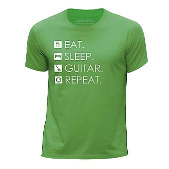 STUFF4 Boy's Round Neck T-Shirt/Eat Sleep Guitar Repeat/Green