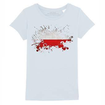 STUFF4 Girl's Round Neck T-Shirt/Poland/Polish Flag Splat/Baby Blue