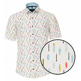 CASA MODA Casa Moda Surf Board Linen Short Sleeve Shirt