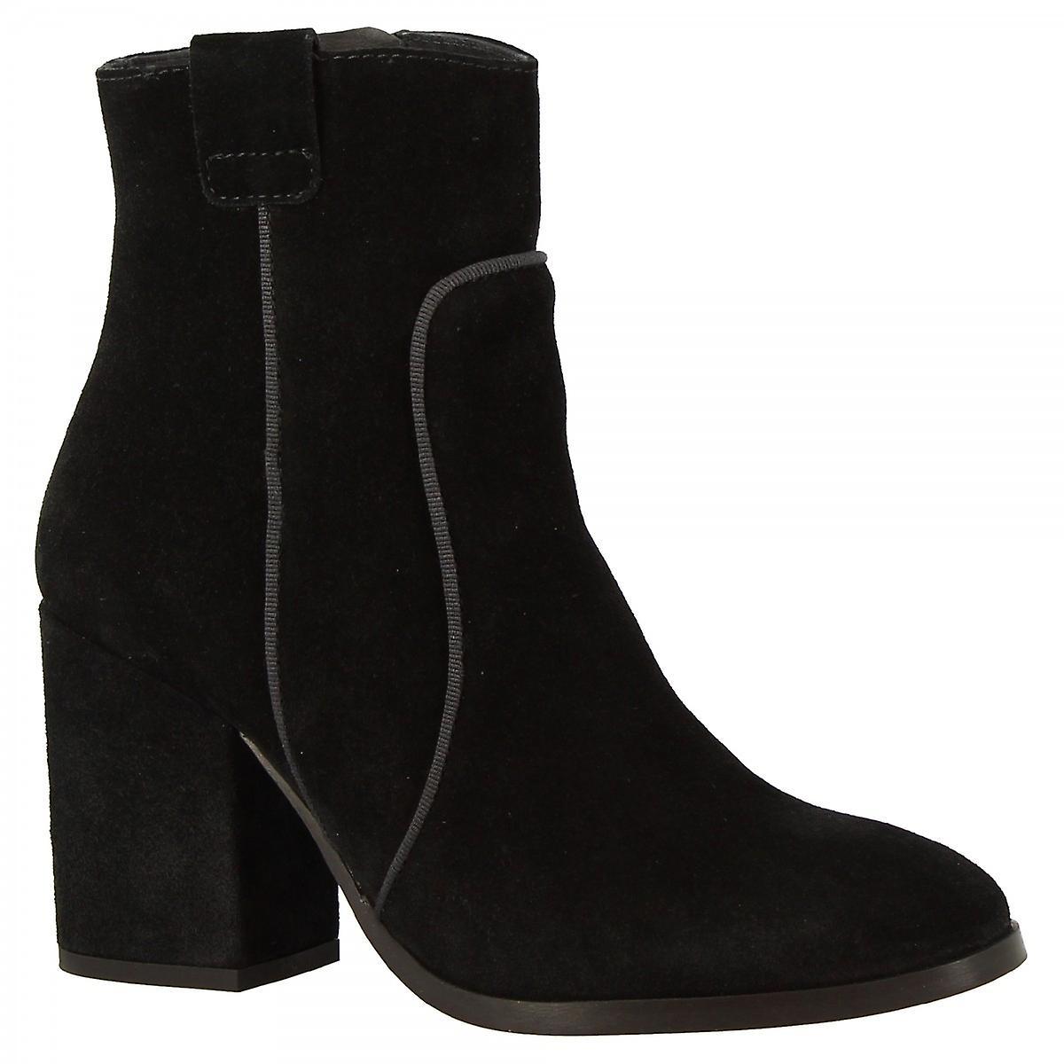 Leonardo Shoes Women's handmade heels ankle boots black suede leather side zip 9X6i8