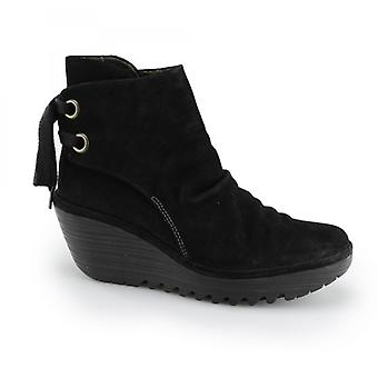 Fly London Yama Ladies Suede Lace Up Wedge Ankle Boots Black