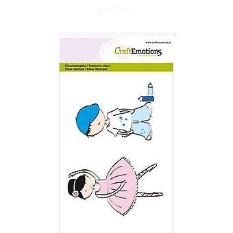 CraftEmotions Tydliga frimärken A6 - pojke och flicka