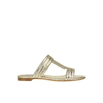 Tod's Ezgl027059 Women's Gold Leather Sandals