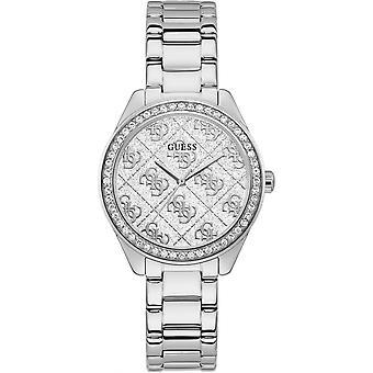 Guess Uhren Uhren GW0001L1 - Bo Tier Stahl mit Kristallen Silber Zifferblatt glänzend Stahl Armband