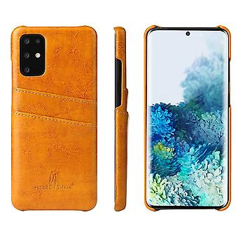 Pour Samsung Galaxy S20 Case Deluxe Leather Protective Cover Jaune