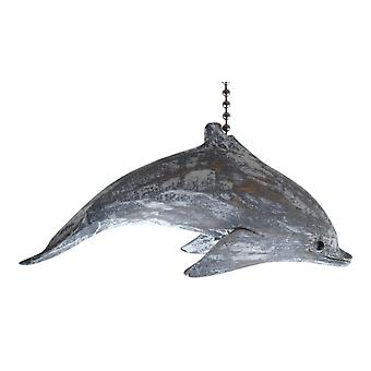 Dolphin nadbrzeżnych Ocean bielone rzeźbione drewniane pułap wentylatora Pull