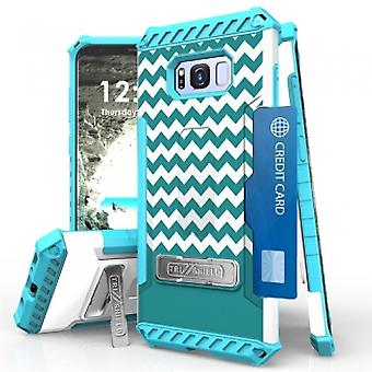 SAMSUNG GALAXY S8+ BEYOND CELL TRI SHIELD CASE - TEAL CHEVRON
