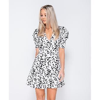 Printed Puff Sleeve Frill Hem V Neck Mini Dress - White