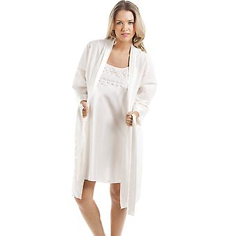 Camille Ivory Short Cotton Wrap With Satin Chemise Set