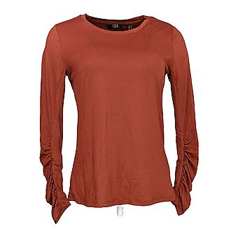 G.I.L.I. got it love it Women's Top Peached Knit Ruched Brown A350336