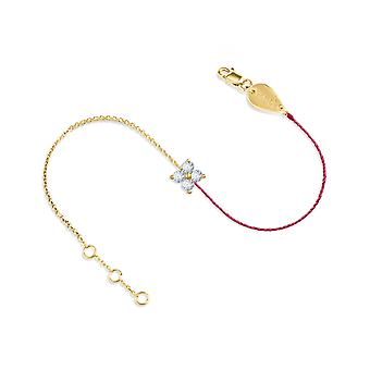 Bracelet Fairy 18K Gold and Diamonds, Half Thread Half Chain - Yellow Gold, Fuschia