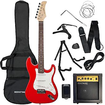 Rocket Full Size Electric Guitar Starter Pack - Red
