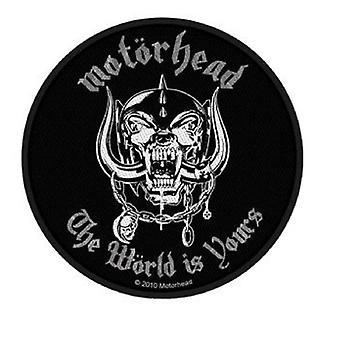 Motorhead Patch The World Is Yours bande logo nouvelle circulaire officielle tissé (10cm)