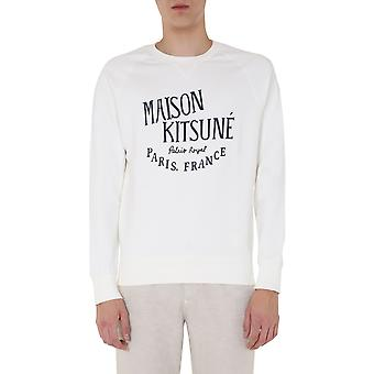 Maison Kitsuné Am00300km0001latte Men's White Cotton Sweatshirt