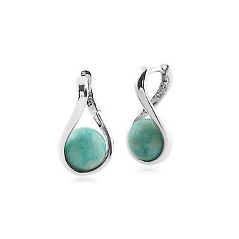 Kosmos Round Ball Shaped Amazonite Earrings in Rhodium Plated Sterling Silver T034990G1