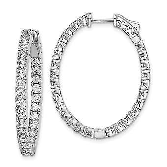 925 Sterling Zilver gepolijst scharnierende hoepel Veiligheid gesp Rhodium verguld Rhodium Plated CZ Cubic Zirconia Gesimuleerde Diamant
